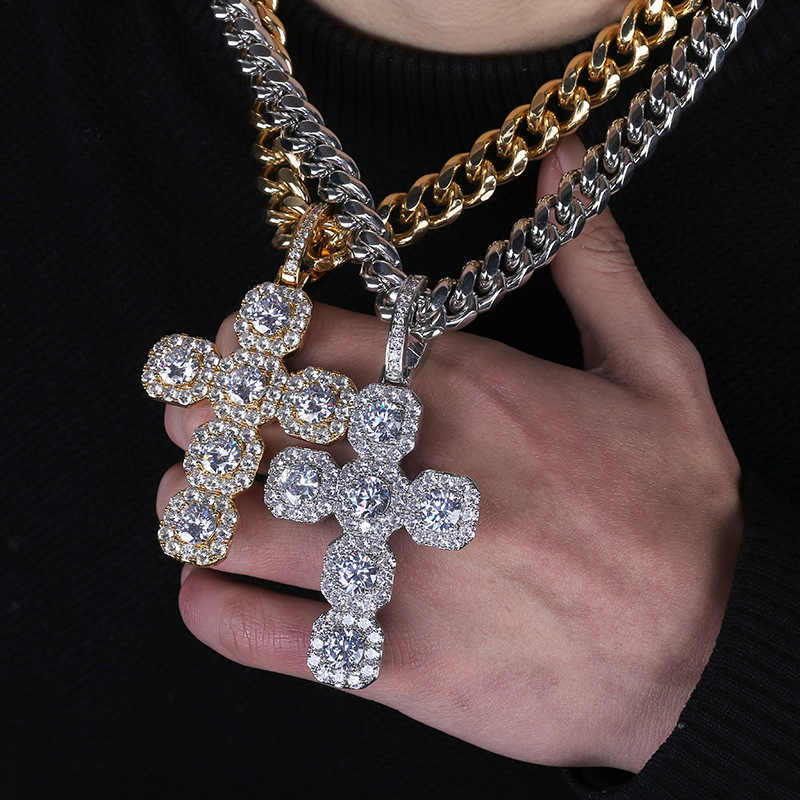 Hip Hop Micro Paved Square AAA Cubic Zirconia Bling Ice Out Cross Pendants Necklaces for Men Rapper Jewelry Drop Shipping