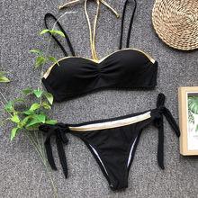 da118c19fec8d Golden Splicing Bandage Push Up Bikini Set Gold Bikinis Women Swimwear Two  Piece Swimsuit Bathing Suit