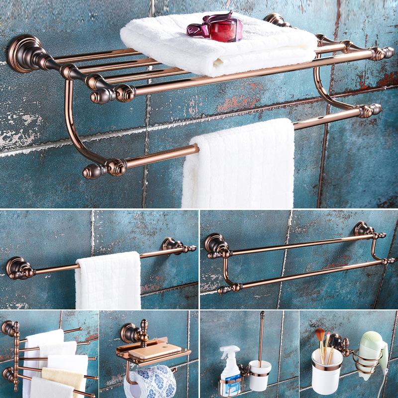 Rose Gold European Bathroom Hardware Set Brushed Copper Bathroom Brown Ancient Shelves Bathroom Accessories GJ 1