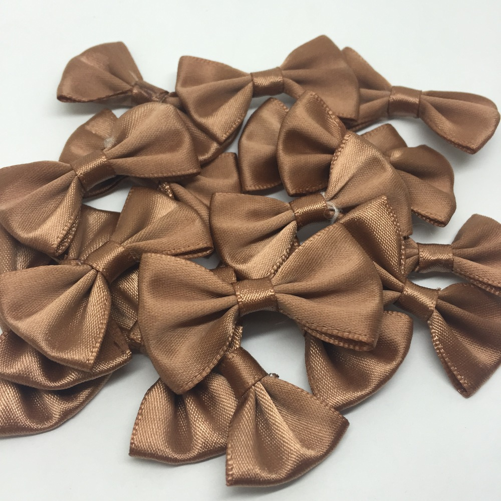 100pcs Brown Color 35x22mm Satin Ribbon Bows For Doll Hair Accessories Wedding Invites Decorations Cardmaking