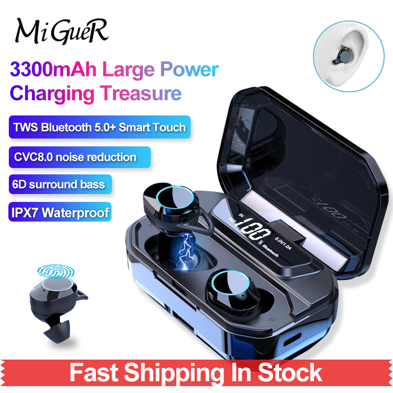 G02 TWS 9D Stereo Draadloze Koptelefoon Bluetooth 5.0 + HiFi Koptelefoon IPX7 Waterdicht Met LED 3300 mAh Smart Power Bank telefoon Houder-in Bluetooth Oordopjes & Koptelefoon van Consumentenelektronica op  Groep 1