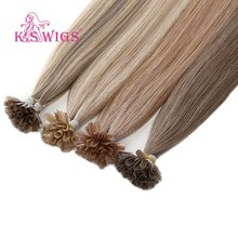 K.S WIGS Straight Remy Nail U Tip Human Hair Extensions Double Drawn Keratin Pre bonded Capsule Fusion Hair 16'' 20'' 24'' 28''(China)