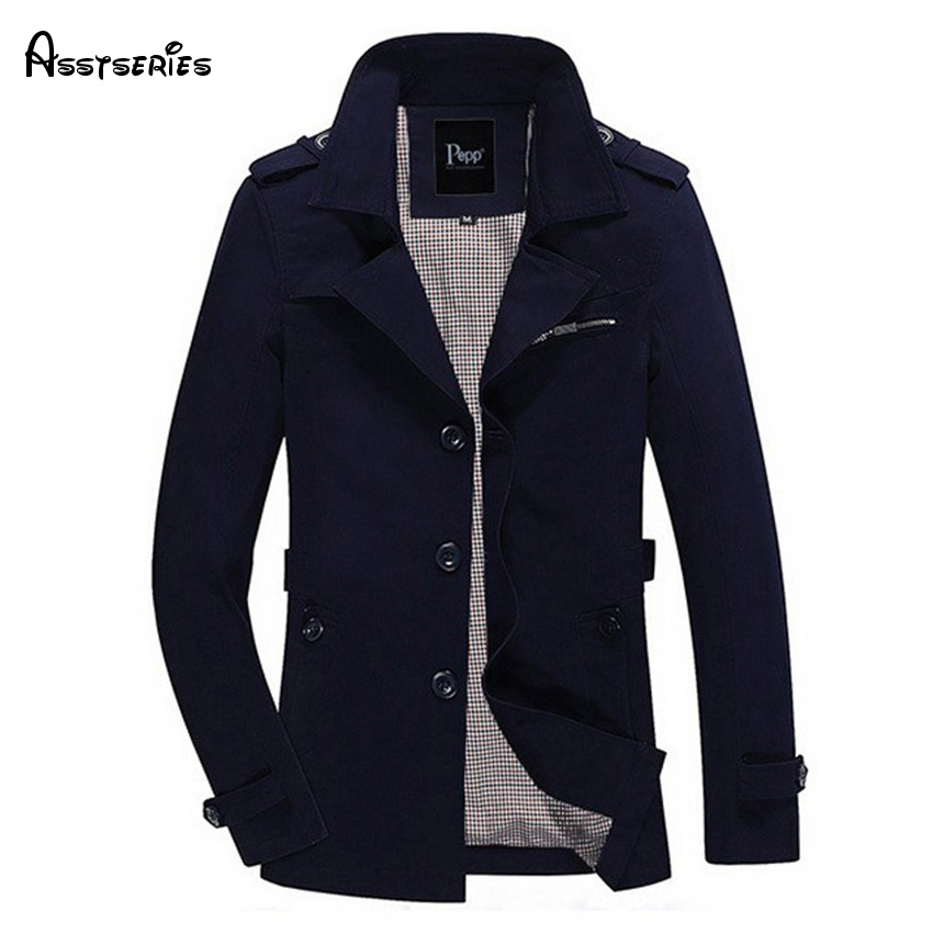 free shipping 2018 new fashion man's jacket long sleeved solid slim men's   trench   coat windbreaker Plus Size M-4XL 4 colors 94z