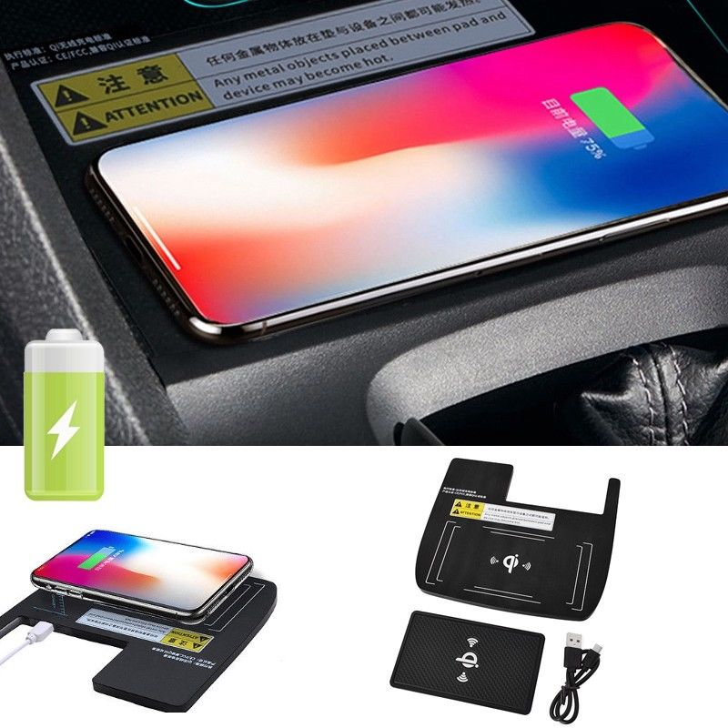 Console Storage Box Qi Wireless Charger Charging For Honda Civic 10th 2016-2018 Electronics Accessories Cables Adapters Sockets electronics