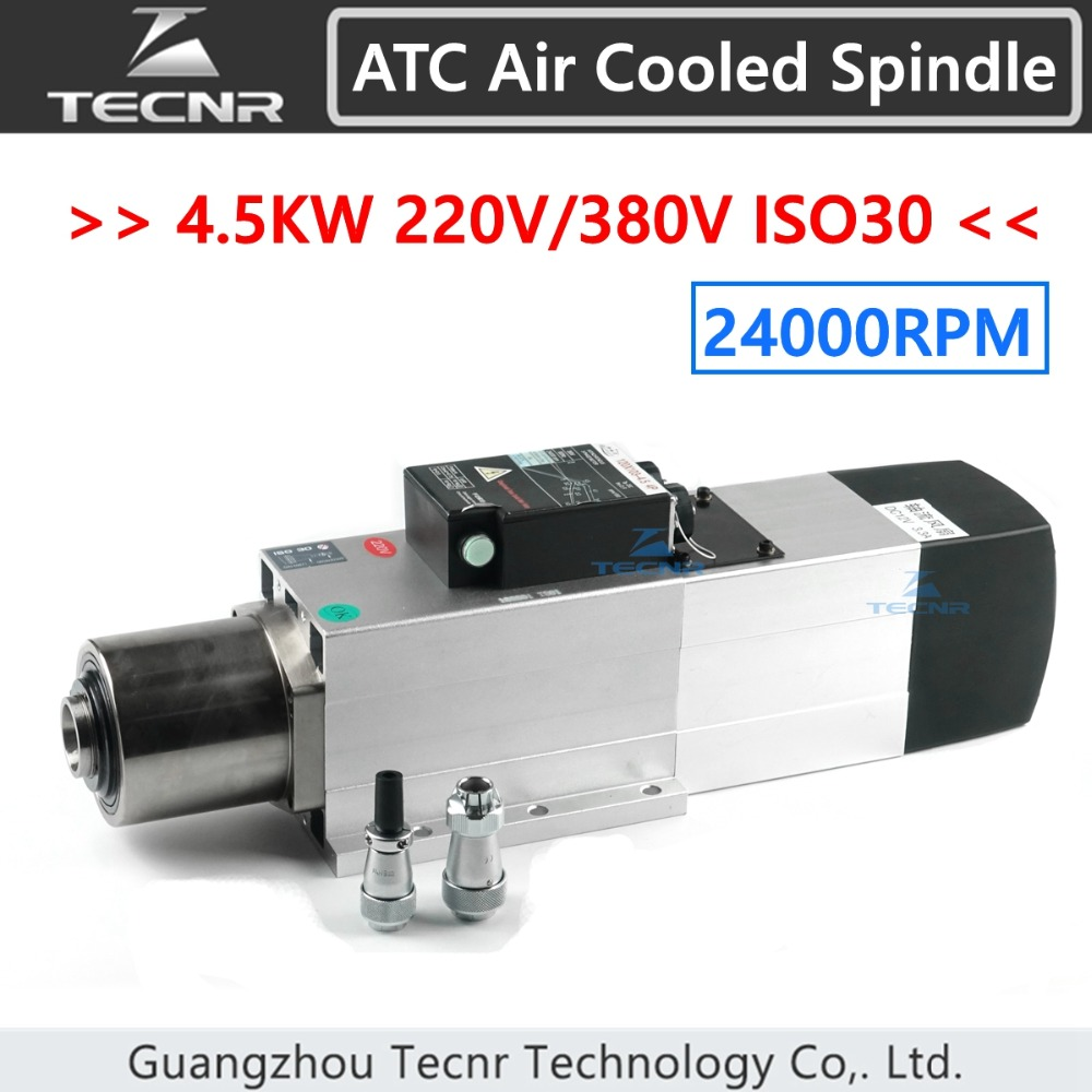 TECNR 4.5KW ATC air cooled spindle motor 24000RPM ISO30 220V 380V Automatic Tool Change spindle for woodworking cnc router 9kw 24000rpm 380v 220v long head iso30 atc air cooled automatic tool change spindle