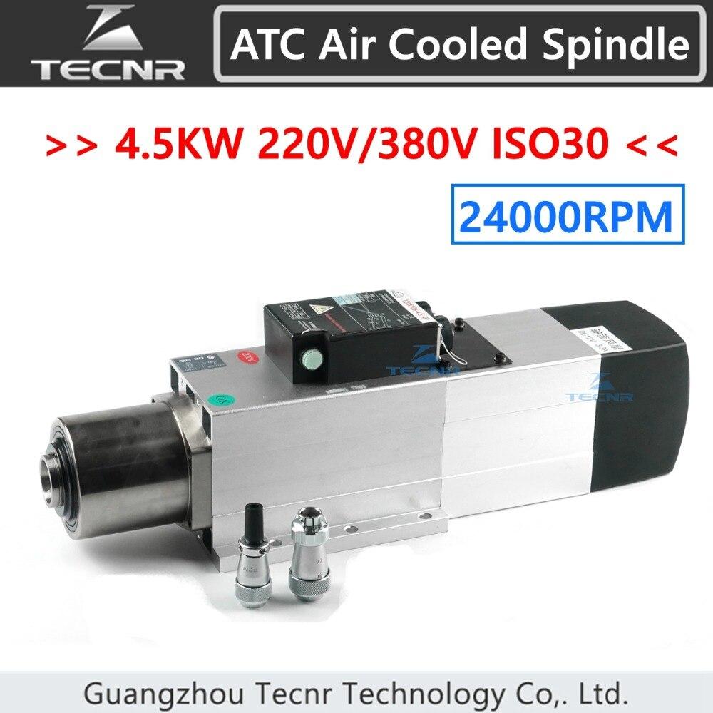 TECNR 4.5KW ATC refroidi par air moteur de broche 24000 tr/min ISO30 220 V 380 V automatique outil changement broche pour le travail du bois CNC routeur