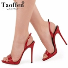 TAOFFEN Plus Size 34-45 6 Color Women Sexy High Heel Sandals Open Toe Back Strap Thin Heel Sandals Summer Party Shoes Women