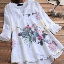 Blusa blanca con estampado Floral blusa Casual con cuello en V manga larga Mujer túnica camisa otoño Patchwork tallas grandes moda mujer blusas 2019