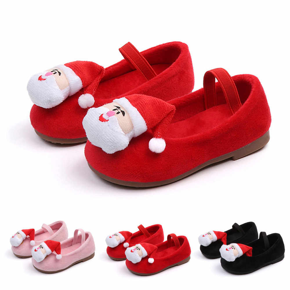 Toddler Girl Shoes With Bows Kids Baby Infant Toddler Girls Christmas Santa XMAS Princess Warm Flat Shoes Girl Baleriny Sneakers