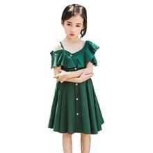 Baby Girls Dress Summer Strapless strap Kids Dresses For V-Neck Fashion Sundress Beach Princess party