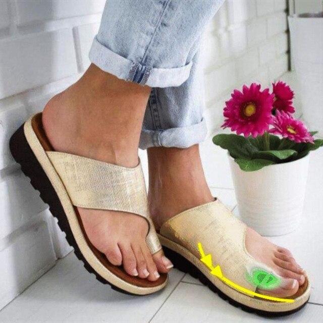 נשים סנדלי עור מפוצל נעלי פלטפורמה שטוח בלעדי גבירותיי מקרית רך כף רגל בוהן תיקון סנדלי אורטופדי פיקה מתקן