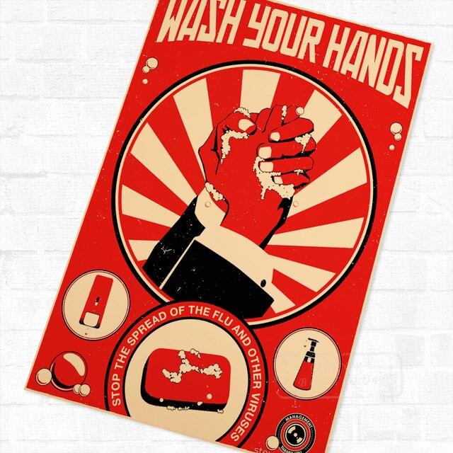 Pop Art Wash Your Hands Propaganda Vintage Retro Kraft Poster Decorative DIY Wall Canvas Sticker Home