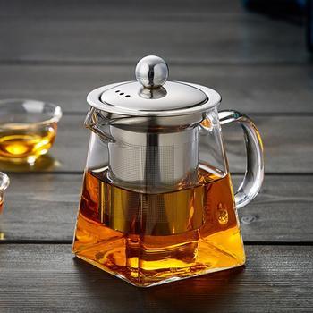 Odporność na wysoką temperaturę szklany zestaw do herbaty szkło odporne na ciepło filtrowanie ze stali nierdzewnej czajniczek kwadratowy kwiat czajniczek