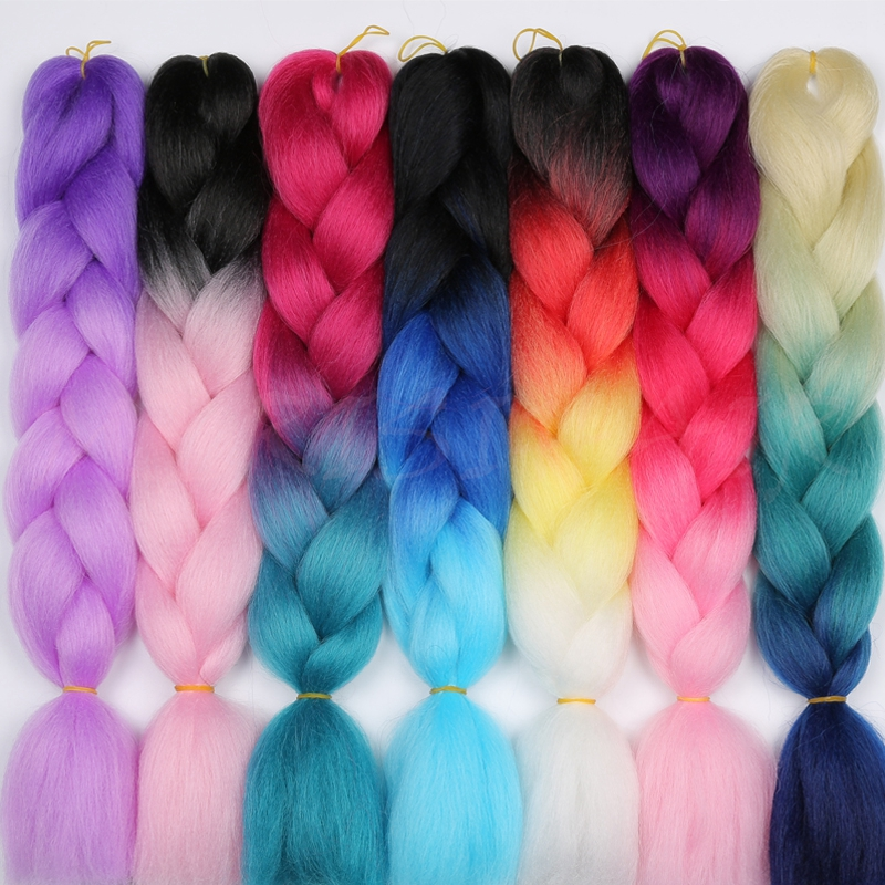 MERISIHAIR Jumbo Braids Long Ombre Jumbo Synthetic Braiding Hair Yellow Pink Purple Gray Hair Extension Oversized Tweezers(China)