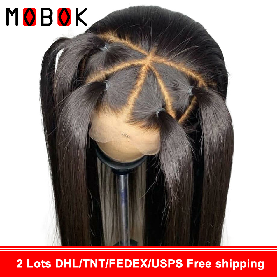 Mobok 360 Lace Frontal Wig Straight Lace Front Human Hair Wigs Pre Plucked With Baby Hair 150% Remy Mongolian Wig For Black Woma(China)