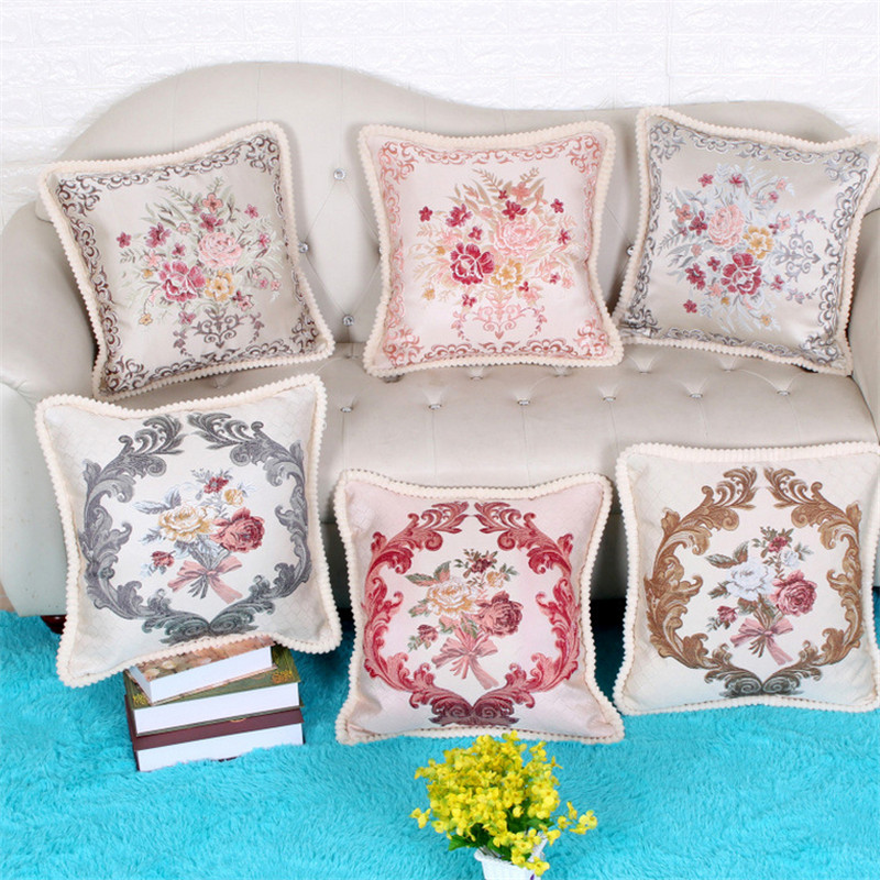 48*48cm European Style Embroidery Flowers Pillowcase Cushion Cover Office Car Sofa Chair ...