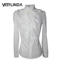 VESTLINDA Ofis Bluz Gömlek Şifon Blusas Sonbahar Kadın Victoria Üst Düğme İpeksi Dantel Yaka Fırfır Saten Katı Üstleri Kadın