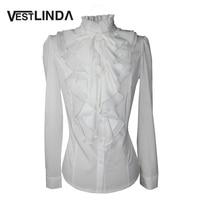 VESTLINDA Office Blouse Shirt Chiffon Blusas Autumn Women Victorian Top Button Silky Lace Collar Ruffle Satin