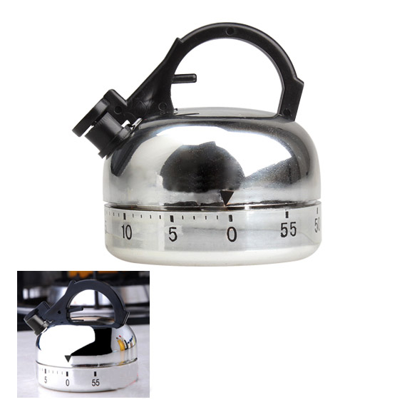 Clock Counting 60 Minute Kitchen Timer Alarm Mechanical Teapot Shaped Timer LXY9 DE17