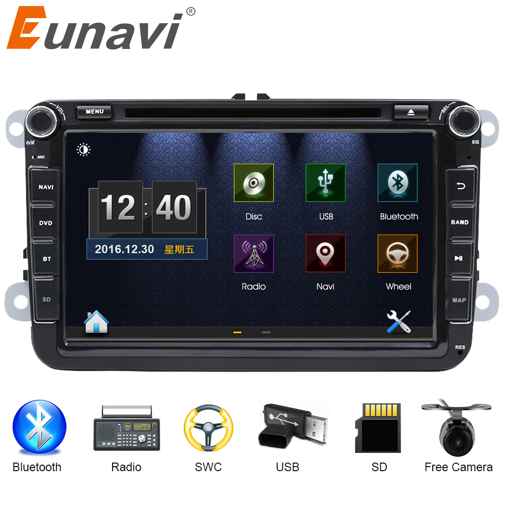 Eunavi 2 DIn font b Car b font DVD 8 HD For VW POLO GTI GOLF
