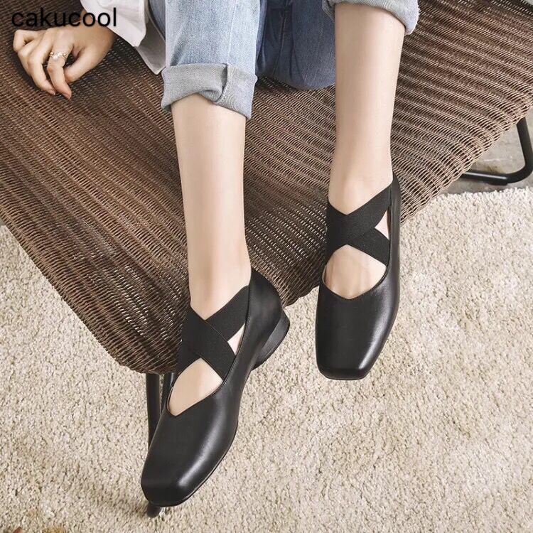 2019 spring and summer new ballet shoes leather square head comfortable flat with single shoes cross
