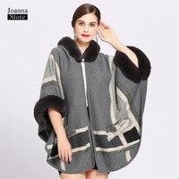 Fur collar cloak plus size capes hooded women plus size office ladies clothes vintage elegant cloak winter long casual new coat