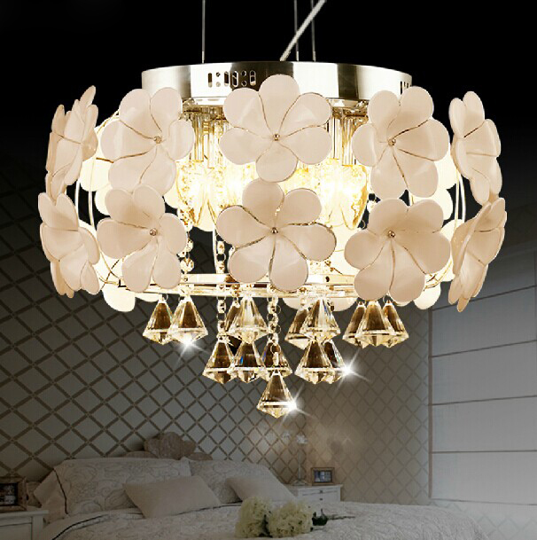 Free Shipping Hot Fashion White Flower Chandelier Lights Res De Cristal Home Lighting