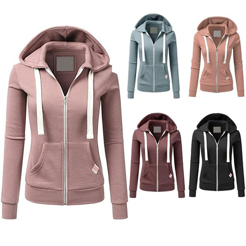 Women Zipper Hoodies Sweatshirt Jacket Winter Autumn Solid Zipper Women Hoodies Sweatshirts Moleton Feminino 5 Colors S-XL