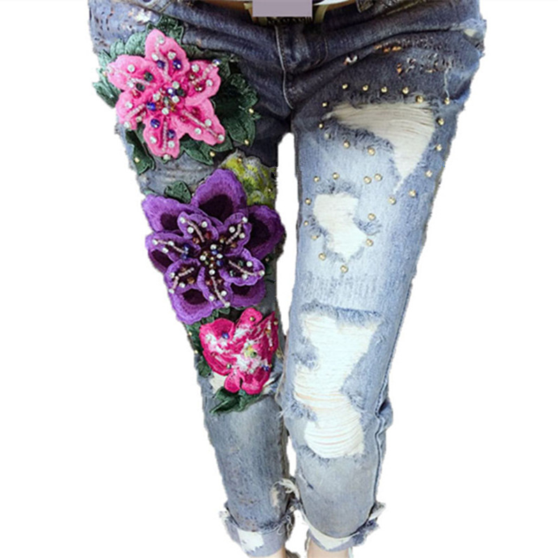 3D Flowers Style Women Denim Jeans Flower Skinny Jeans Pencil Pants With Embroidery Embroidered Flares Lady Ripped Trousers