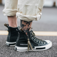 New 2018 Spring Autumn Fashion High Top Sneakers Canvas Shoes Men Casual Shoes Flat Male zipper Lace Up Solid Trainers
