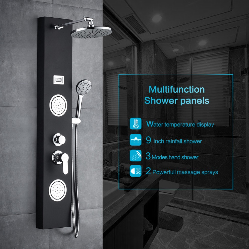 ROVATE Bathroom Shower System Set Stainless Steel Rainfall Shower Panel Tower System 3-Function Shower Mode temperature display