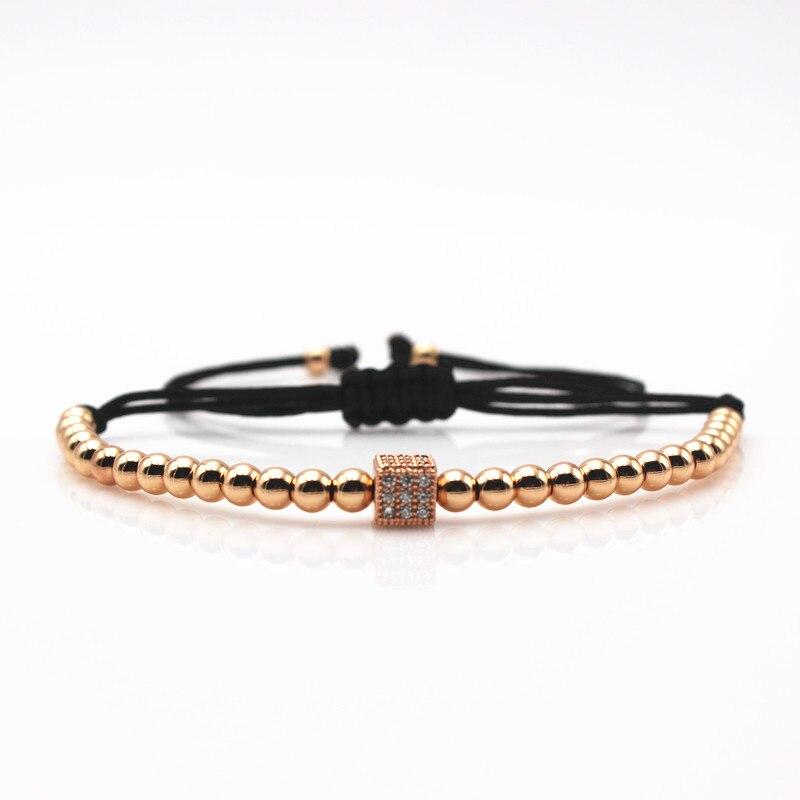 Classic Anil Arjandas Men Bracelet Round Beads Micro Pave Black CZ Beads Cube Dice Macrame Braided Charm Bracelets Jewelry