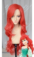 Anime The Little Mermaid Princess Ariel Cosplay Wigs Long Red Heat Resistant Synthetic Hair Wig + Wig Cap