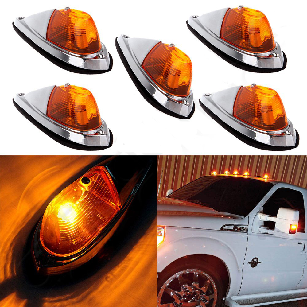 5 Pcs Universal Car Roof Strobe Warning Light Truck Semi trailer Clearance Lamp Side Marker Lights For Ford 4X4 12v led yellow car clearance lights auto waterproof side marker light truck clearance lights trailer led warning lamp bulb light page 5 page 5 page 2 page 4