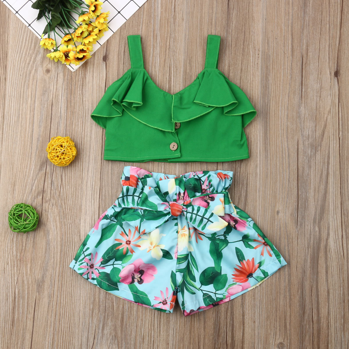 Pudcoco Summer Toddler Baby Girl Clothes Sleeveless Strap Ruffle Crop Tops Flower Print Short Pants 2Pcs Outfits Clothes