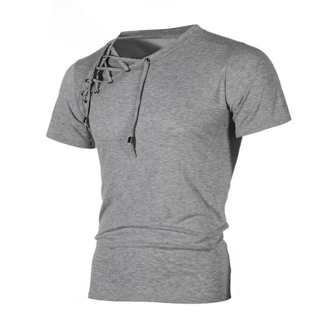 99b19e7d85 US $8.39 40% OFF High Quality T Shirt Men Brand Tops Men T Shirt Casual  Short Sleeve V Neck Lace Up White/Black Tee Shirt Bodybuild Crossfit Q4-in  ...