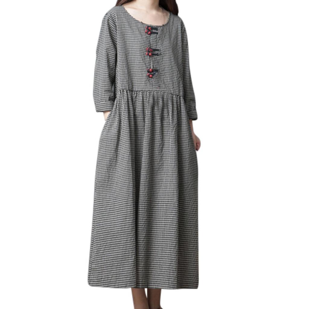 Women's Clothing Long Dress Summer 2019 Beach Big Code Girl Japanese Style Linen Summer Dresses Long Sleeve Checked Dress Sukienka Vestidos#g10