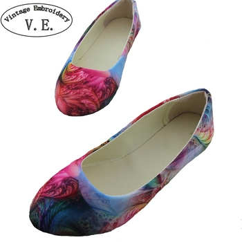 2018 New Spring Autum Shoes For Woman Flower Printed PU Leather Pointed Toe Flats Comfortable Casual Platform Shoes Zapatos online shopping in pakistan with free home delivery