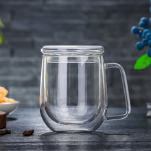 300ml Double Wall Layer Glass Cup with Lid Handgrip