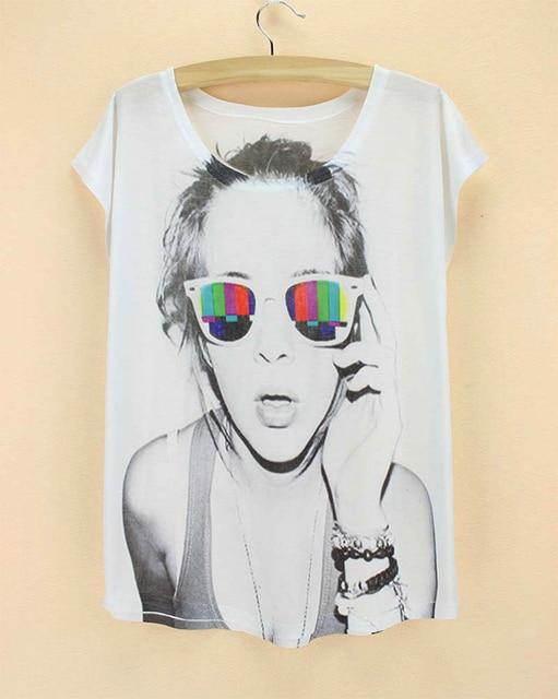 summer style cool female sunglasses white tshirt 2015 3d printed new design women's t shirt short sleeve cheap tops