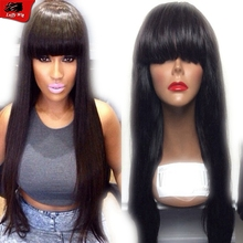 Brazilian full lace human hair wigs real hair machine made wigs with bangs 130% density straight full lace wig for black women