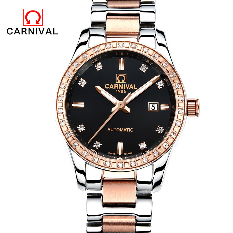2017 Genuine CARNIVAL Women automatic mechanical Watch self-wind sapphire watch ladies fashion business female waterproof Watch k colouring women ladies automatic self wind watch hollow skeleton mechanical wristwatch for gift box