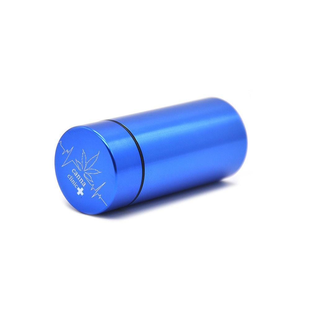Тайник jar-герметичная запах доказательство Алюминий травы контейнер травы Шлифовальные станки курительная трубка Pill Box, отправить сигары держатель+ Стекло советы для - Цвет: Blue-CannaClinic