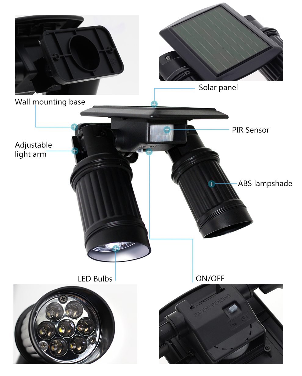 Led solar lâmpada pir sensor de movimento