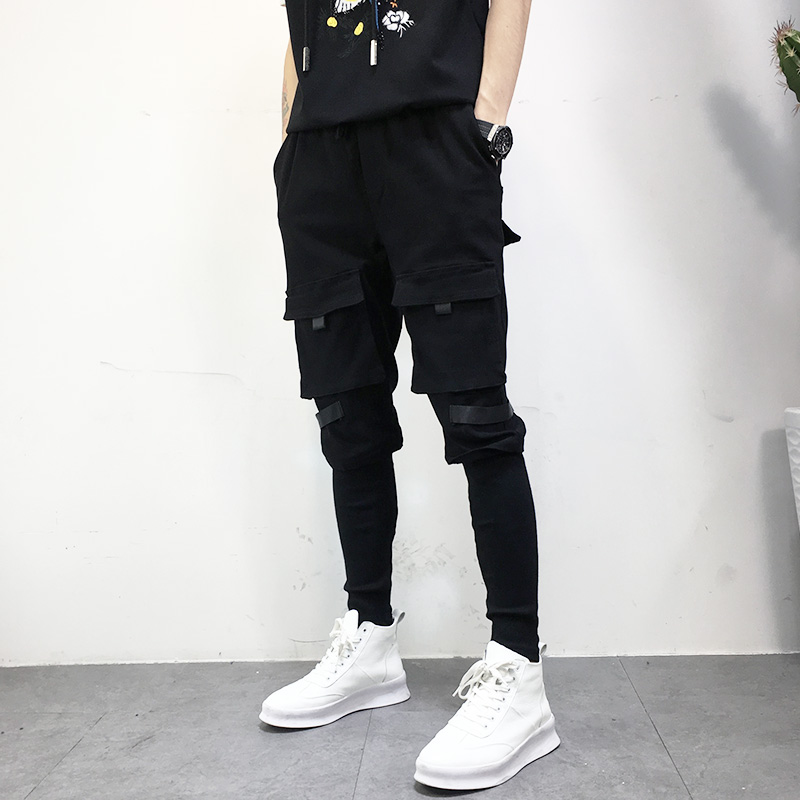 все цены на 2018 High Street Fashion Men's Jeans Casual Pants Hip Hop Style Multi-Pocket Spliced Jogger Pants Slim Fit Punk Harem Pants Men
