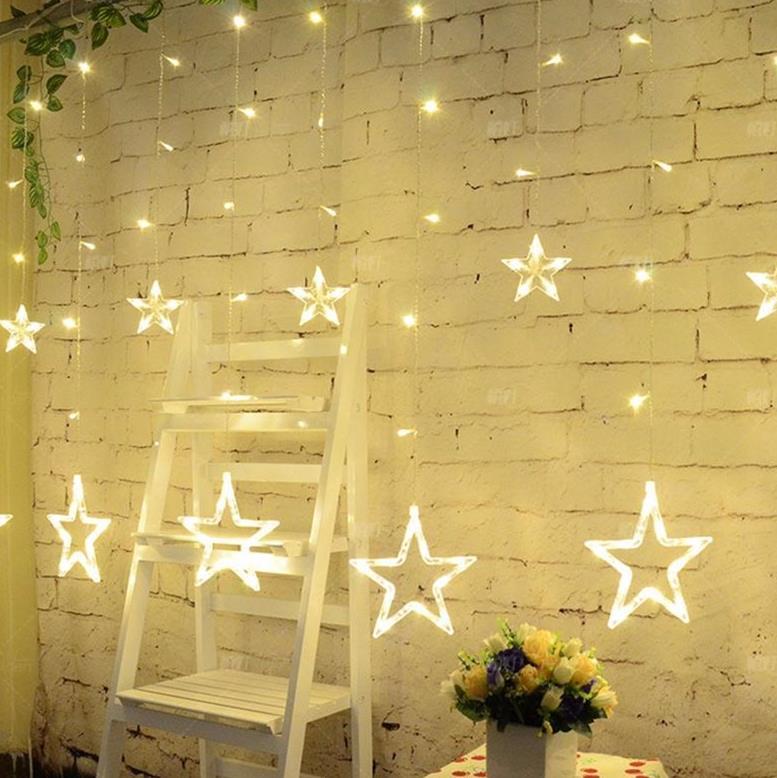 aliexpresscom koop glow lichtgevende ster string gordijn verlichting gordijn party bruiloft kerst raam deur hanger lamp fairy light thuis decoraties van