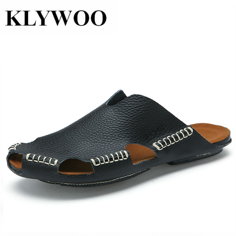 KLYWOO Men Sandals Outdoor Fashion Genuine Leather Sandals Men Summer Slippers Breathable Sandalias Hombre Mens Beach Slides