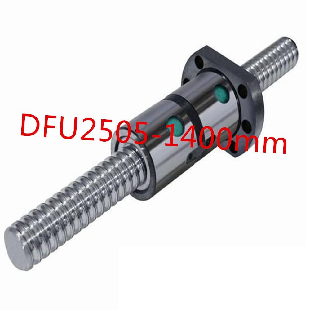 25mm linear rolled 2505 lead ballscrew ballnut set 1pc DFU2505 ball screw L 1400mm + 1pc double ball nut for DIY CNC tbi 2505 c3 800mm ballscrew 5mm lead ground with sfu2505 ballnut