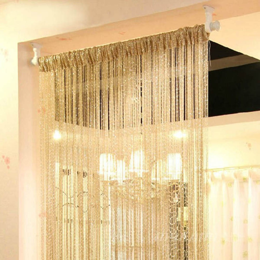 Hot Silver Silk String Curtains For Living Room Tassel Window Door Divider Sheer Valance Rideaux Pour Le Salon In From Home Garden On