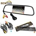 """Bemtoo sem fio 4.3 """"lcd monitor espelho retrovisor para a câmera de visão traseira do carro de backup de visão noturna placa de licença europeu"""